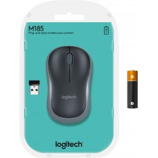 Logitech M185 Wireless Mouse USB for PC Windows, Mac and Linux, Grey with Ambidextrous Design-Black